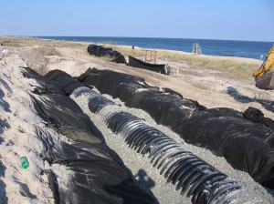 North Carolina State dune infiltration system being installed