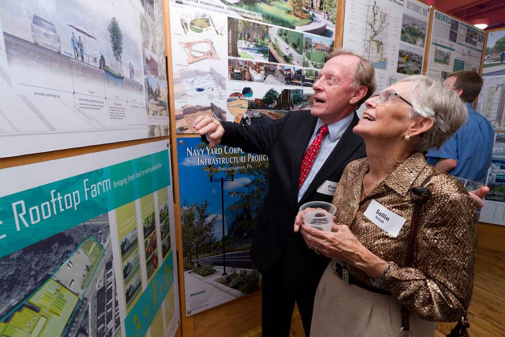 Holding low impact development events before and during the competition can increase competition participation, LID knowledge, and excitement. This image from Infill Philadelphia shows a green infrastructure design exhibition. Photo credit: Mark Garvin