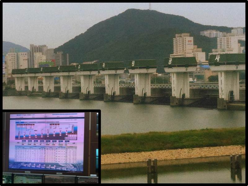 This image shows the Nakdong River barrier system. The image in the corner shows K-Water's control panel for the upstream weirs. These systems help prevent flooding and control flow rate along the river.
