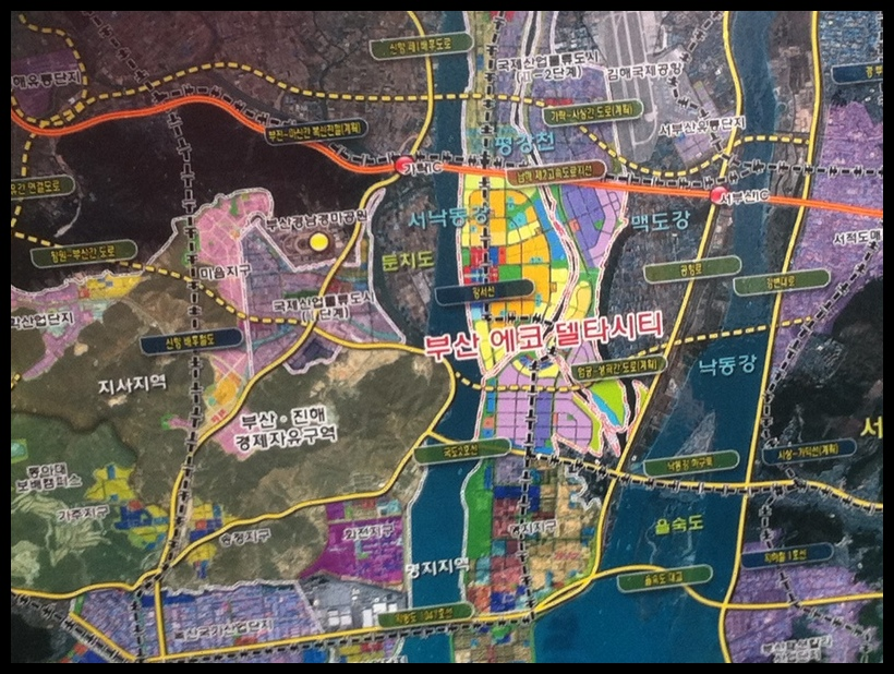 This pictures shows the master plan for South Korea's Eco Delta City.