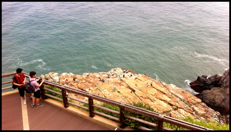 The view from an overlook at Taejondae Cliff Park located on the southeastern coast of Busan, South Korea