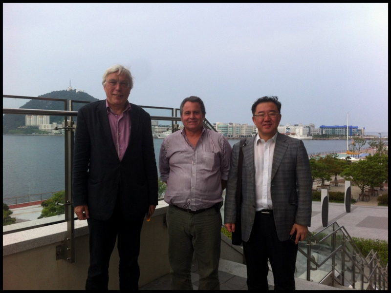 From left: Dr. Jürgen Pietsch of HafenCity Universität, me, and Dr. Hyunsuk Shin of Pusan National University outside the National Maritime Museum in Busan, South Korea.