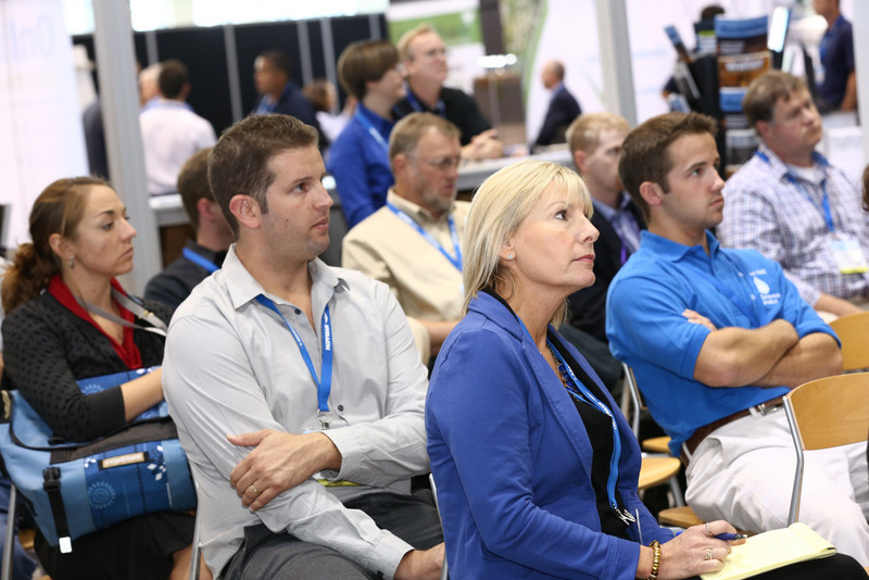 Attendees watch short programming in the Stormwater Pavilion theater.