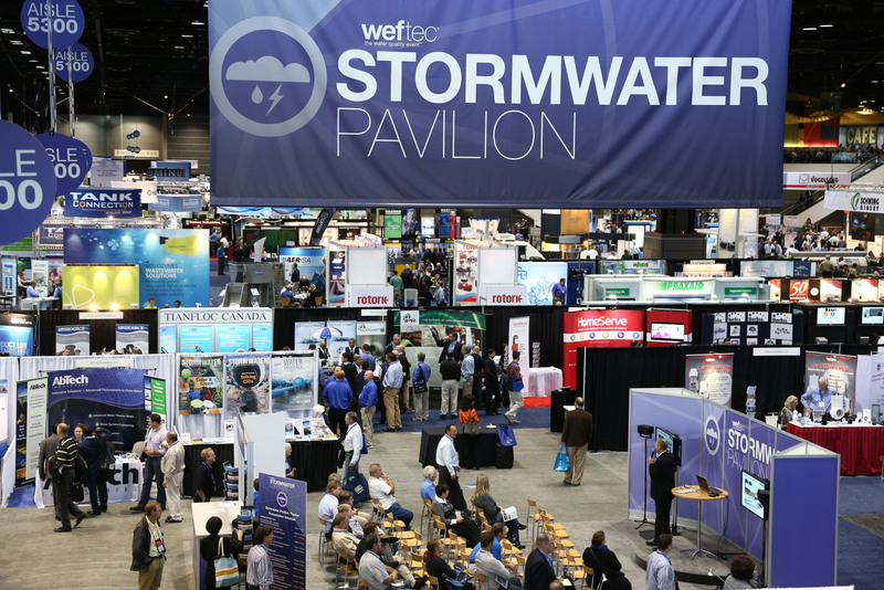 Purple signage directed attendees to the Stormwater Pavilion and Stormwater Congress activities.