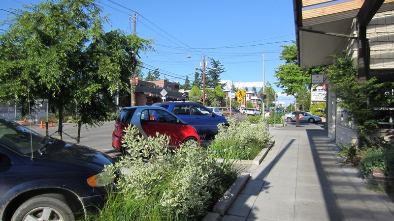 When studying green streets as retail environments, researchers at the University of Washington found that shoppers claim that they are willing to pay 9%-12% more for goods in business districts having a quality urban canopy and landscape. Image credit: SvR Design Company