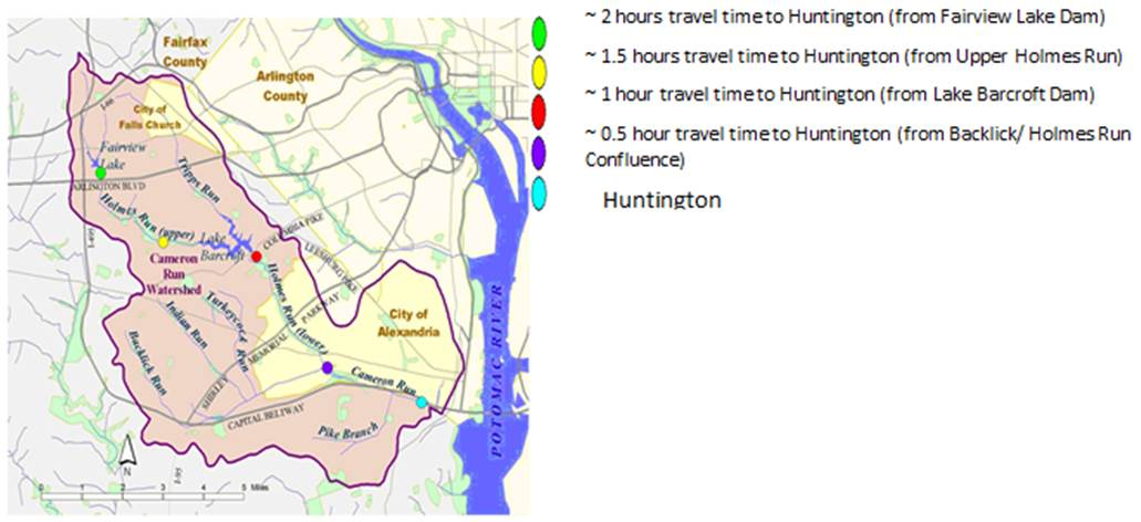 A map showing Cameron Run flood wave travel times