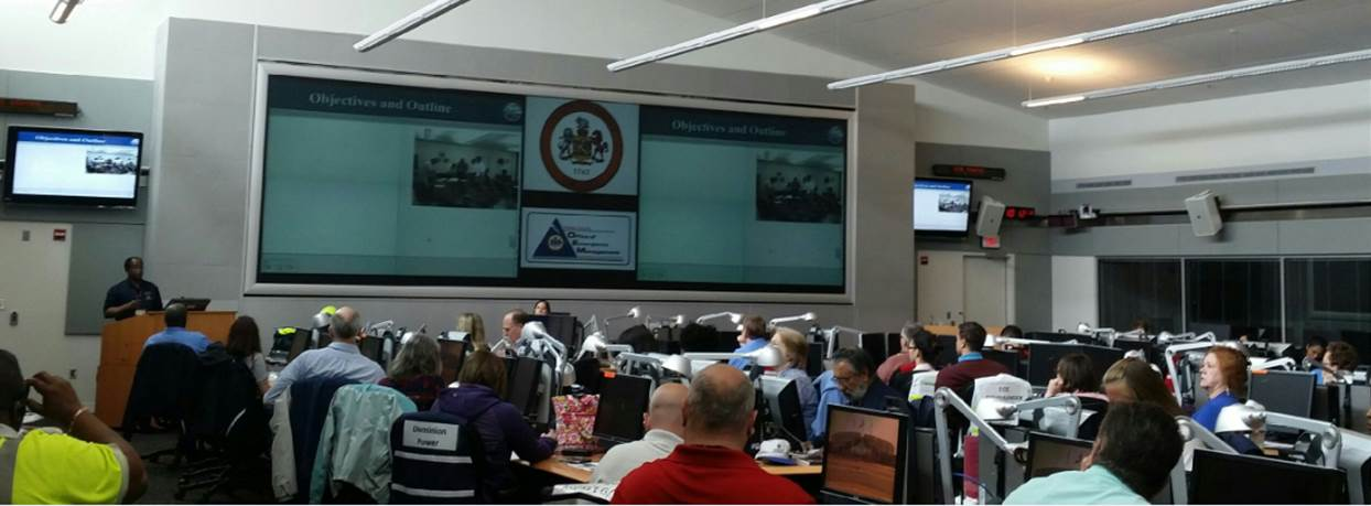 A flood response training session at the Emergency Operation Center