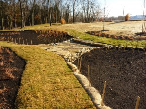 Erosion prevention and sediment control measures around bioretention basins at the University of Cincinnati's Clermont College campus. Image credit: Chris Rust, Strand Associates, Inc.