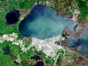 A Landsat image of Lake Pontchartrain. Image credit: U.S. Geological Survey
