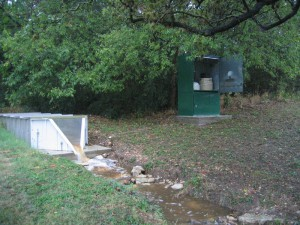 The City of Austin measures streamflow here using an H-flume. Image credit: COA-WPD-WQM
