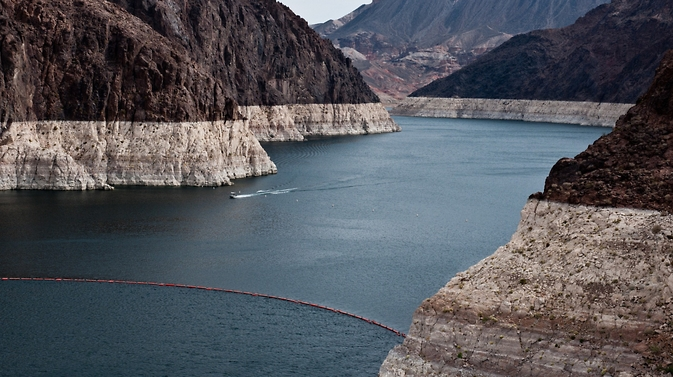 The Colorado River Basin lost nearly 65 km3 (53 million ac-ft) of freshwater over the past nine years, according to a new study based on data from NASA's GRACE mission. This is almost double the volume of the nation's largest reservoir, Nevada's Lake Mead (pictured). Image Credit: U.S. Bureau of Reclamation