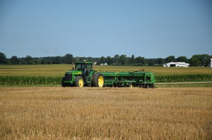 Four types of cover crops, including annual rye, oilseed radish, crimson clover and rapeseed, are being seeded into wheat stubble. Photo by Dianne Johnson, NRCS.