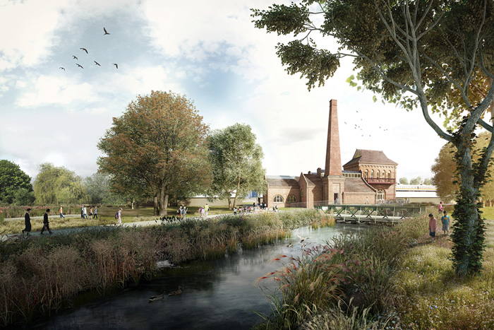 An artist's impression showing the  Marine Engine House at Walthamstow Wetlands as it will look when the funding is invested. Walthamstow Wetlands will be Europe's largest urban wetland reserve. Forest-700
