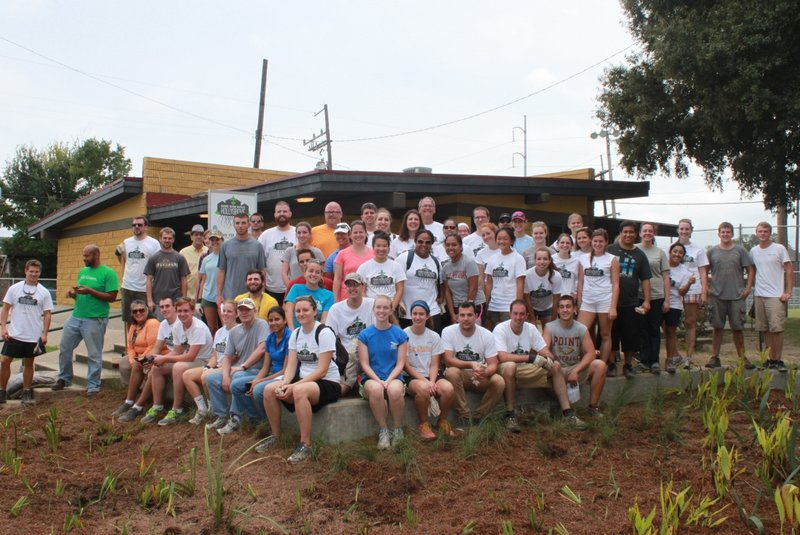 """Volunteers participate in this year's WEFTEC community service project, """"Recharge, Restore, Revitalize Hollygrove: Conrad Park Green Infrastructure Enhancements."""""""