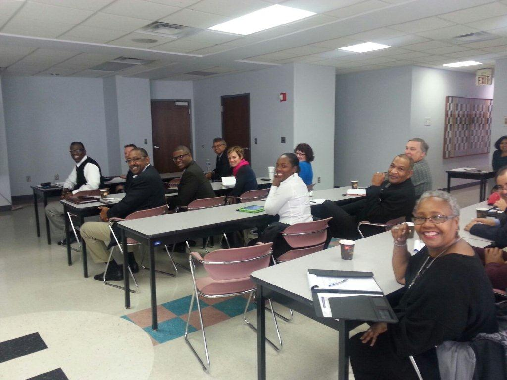 A group of Columbus small business owners gather at Columbus Urban League to learn about Blueprint contracting opportunities. Businesses included small engineering, construction, and landscaping firms. Image courtesy of the City of Columbus.