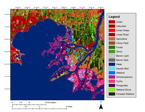 Researchers from the Michigan Tech Research Institute  used three-season PALSAR remote sensing data and field information to create a map of the Great Lakes coastal wetlands.