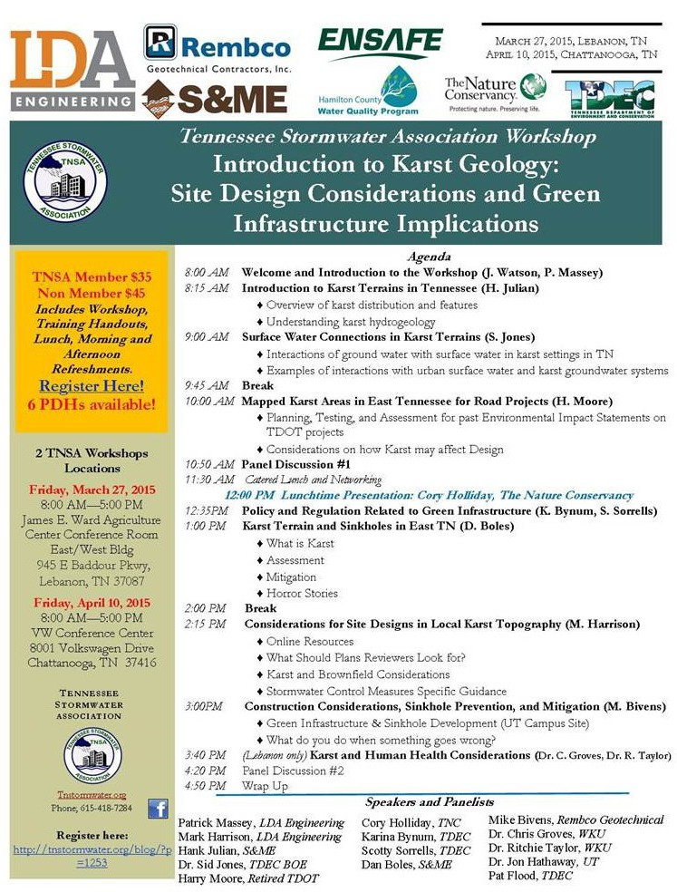 Introduction to Karst Geology: Site Design Considerations and Green Infrastructure Implications @ VW Conference Center | Chattanooga | Tennessee | United States