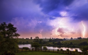 In karst systems, storm events, like this one over Kentucky's Bluegrass region, have the potential to quickly alter groundwater flows and quality.