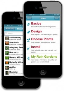 A preview of the rain garden mobile app by the University of Connecticut.