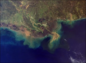 This image shows sediment from the Mississippi River entering the Gulf of Mexico. Image by NASA's Moderate Resolution Imaging Spectroradiometer (MODIS) aboard the agency's Terra satellite in 2001.