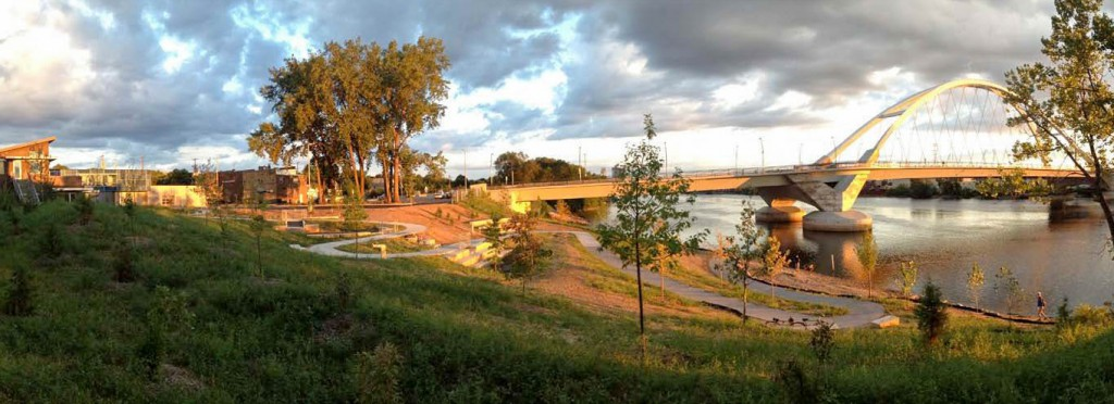 A panoramic image of the MWMO backyard stormwater park taken shortly after the restoration project was completed. Image by MWMO