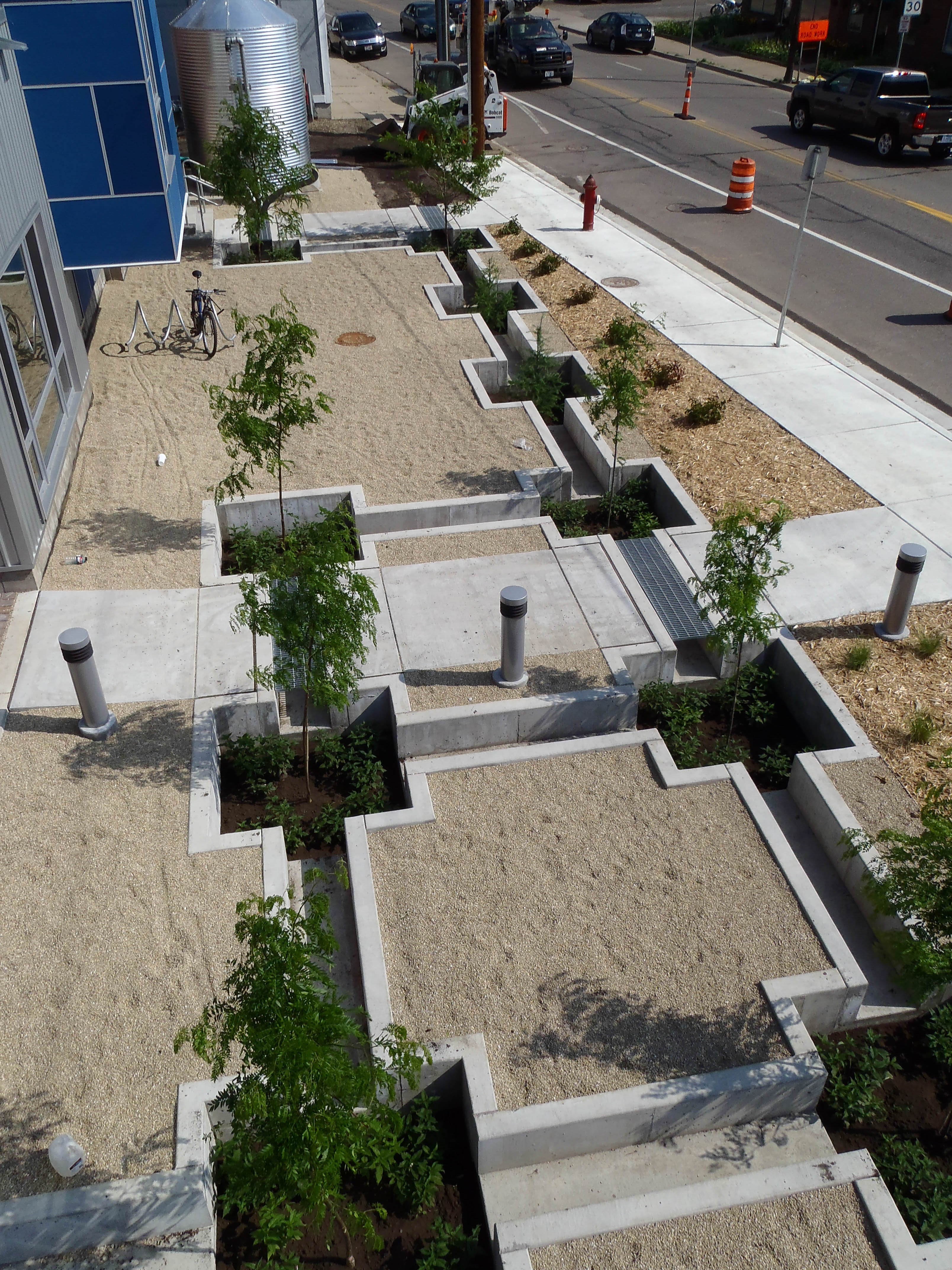 An overhead view of a tree trench and cistern at the MWMO building. Image by MWMO