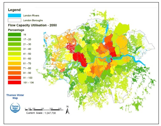 Modeled drainage and sewerage capacity to manage future population growth and climate change for the 2050s. Image by Thames Water
