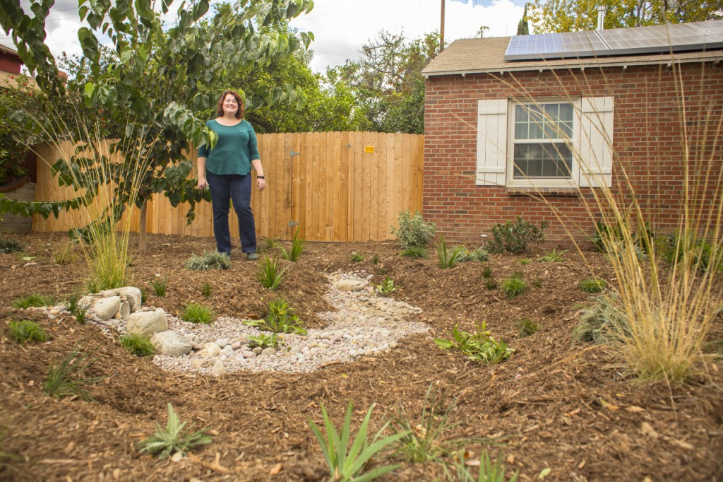 Carrie Wassenaar is a participant in the new program. Her North Hollywood home now can capture, on average, 26,500 L (7000 gal) annually. On Wassenaar's property, runoff travels through a pipe into a rain garden beautified with pebbles and native plants. Wassenaar will use rainwater harvested in tanks to wash her car and irrigate her lemon and tangerine trees. Image by James Kellogg/TreePeople