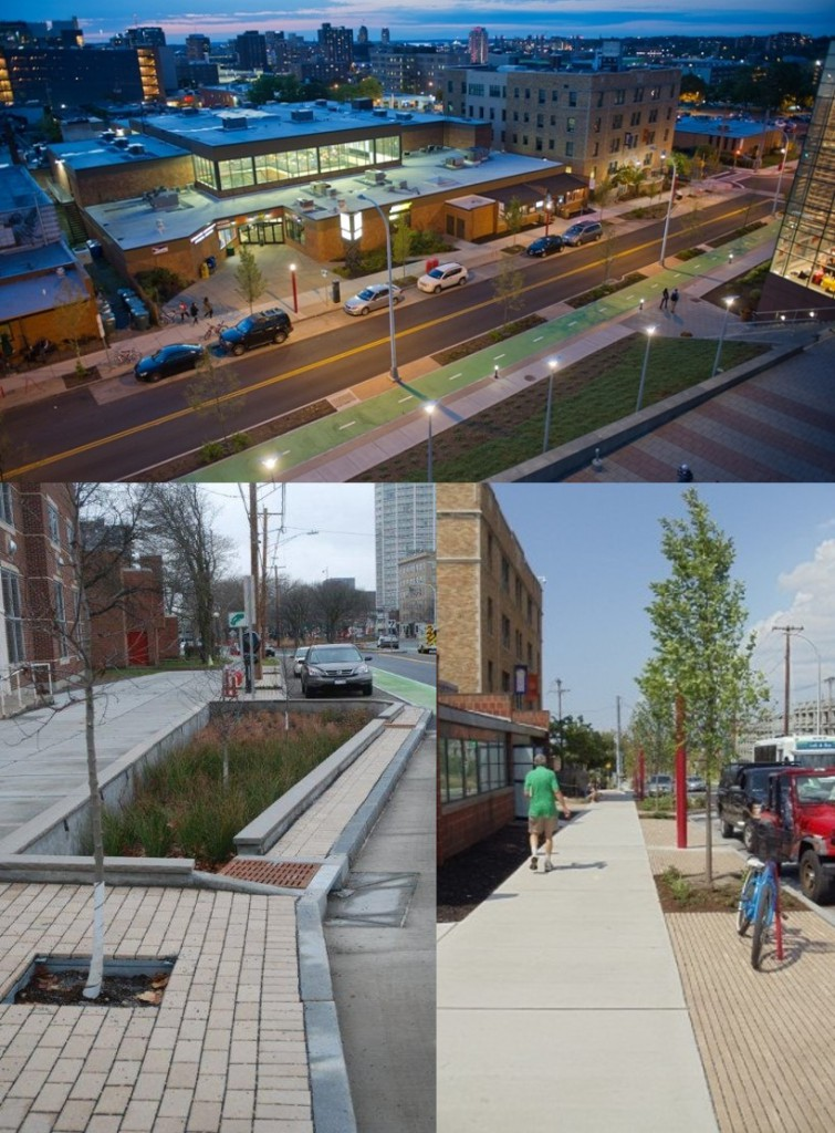 Stemming from an award-winning partnership between Onondaga County, Syracuse University, and the City of Syracuse, the Connective Corridor incorporates several green infrastructure practices into a major streetscape project. The project improves the connection between University Hill and downtown Syracuse. This integrated project has been one of the largest and most cost-effective in the Save the Rain program to date. Image by Syracuse University (top) │Images by CH2M (bottom)