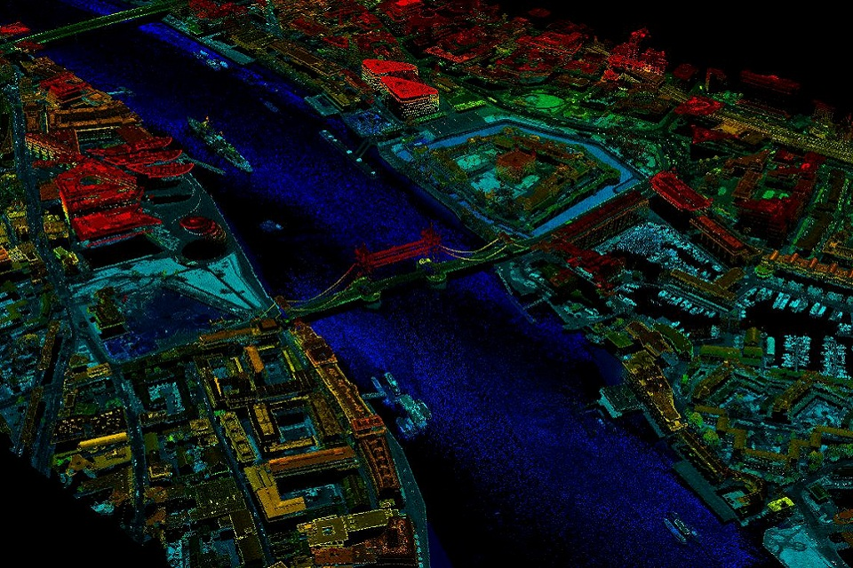 An aerial image of London's Tower Bridge captured using laser technology to map the landscape. Image from the UK Environment Agency