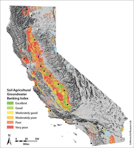 This map is part of the Soil Agricultural Groundwater Banking Index, which identifies farmlands with the most potential to capture groundwater and help recharge groundwater. Image from UC Davis
