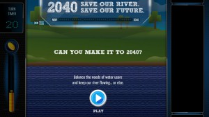 The interactive game, Texas 2040, lets players test their hand at choosing the right options to keep the population supplied with water and the river flowing full.