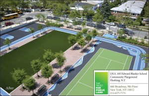 A 0.5-ha (1.2-ac) asphalt lot at the Edward Bleeker Junior High School has been transformed into a playground capable of capturing more than 4164 m3 (1.1 million gal) of stormwater each year. (Credit: Tim Schenck)