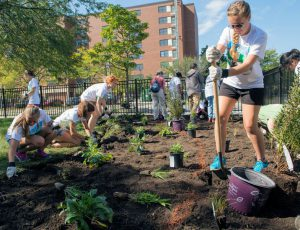 For the third WEFTEC service project completed in Chicago, volunteers helped create a rain garden and outdoor classroom with permeable pavers and underground stormwater storage at the Pershing Magnet School. Photo courtesy of the Metropolitan Water Reclamation District of Greater Chicago.