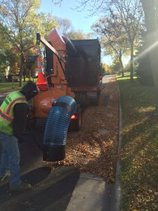 The city of Madison used municipal leaf collection, street cleaning, and leaf blowers to remove leaf litter from residential areas, and asked residents to pile their leaves adjacent to the street to limit excess debris. Photo Credit: Bill Selbig/USGS
