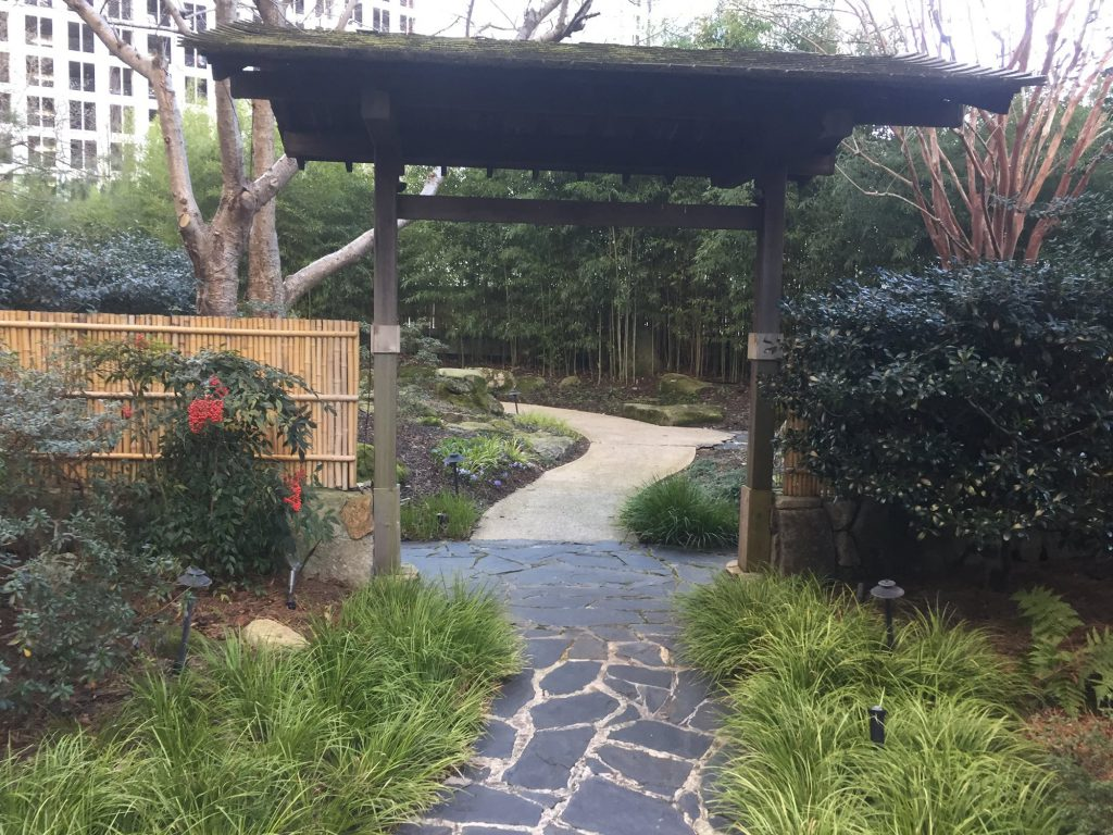 Rain percolates through the soil in the hotel's zen garden and is collected by underdrains that empty into storage tanks a few levels below. To capture this water, the hotel simply piped the drains into storage tanks instead of the sewer.