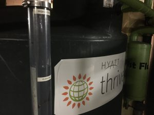 The tours of this system followed a spate of rainy days, so the system was holding more than 73,800 L (19,500 gal) of collected water. Green first flush tanks screen larger particles from the collected water. Mesh filter bags inside the tanks provide additional screening for finer materials.
