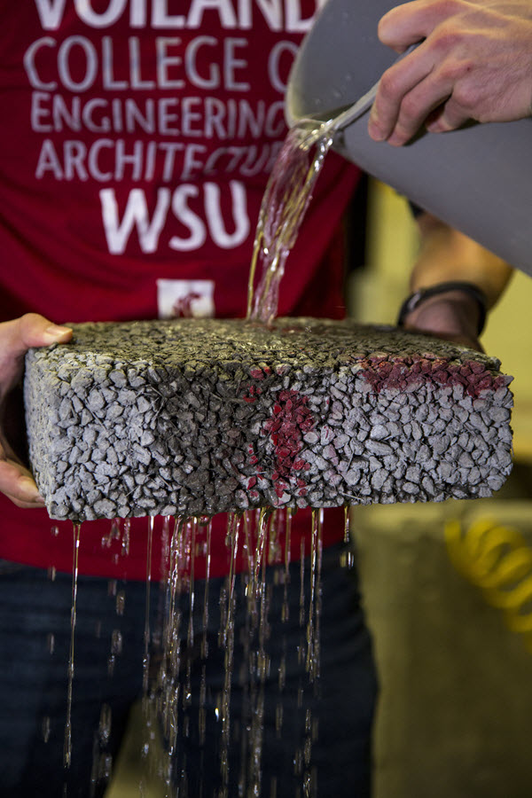 Porous pavement strengthened with waste carbon fiber composite material maintained infiltration rates above acceptable levels. (Photo courtesy of Washington State University)